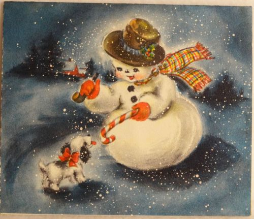 #407 50s Hallmark Snowman Gives Dog a Candy Cane-Vintage Christmas Greeting Card