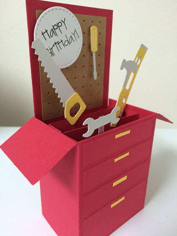 Tool Box Birthday Card in a box by MessagesAndMemories on Etsy