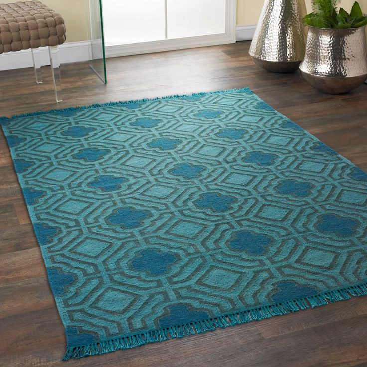 Overdyed Wool Flatweave Maze Rug Vibrant Color In A