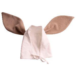 Gorrito de amarrar para bebé de 0-6 meses, fabricado en algodón Orgánico, con erejitas peluditas. Empacada en caja de Cartón lista para regalar<br>