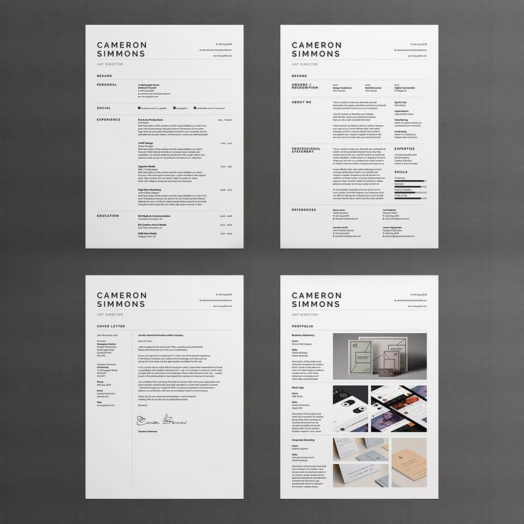 Career focused Resume / Cover letter / Portfolio / Professional easy to edit templates / MS word / Photoshop / inDesign / Instant download.