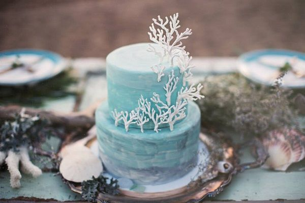 Coastal inspired wedding cake with sugar coral for beach wedding by Sweet On You Designer Cups & Cakes, White Willow Photography.