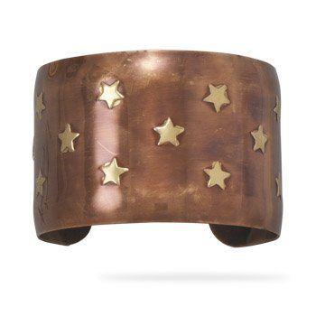 "1.75"" Brass and Copper Star Design Cuff BlingLtd. $23.18. 1.75"" wide brass and copper cuff bracelet with star design."