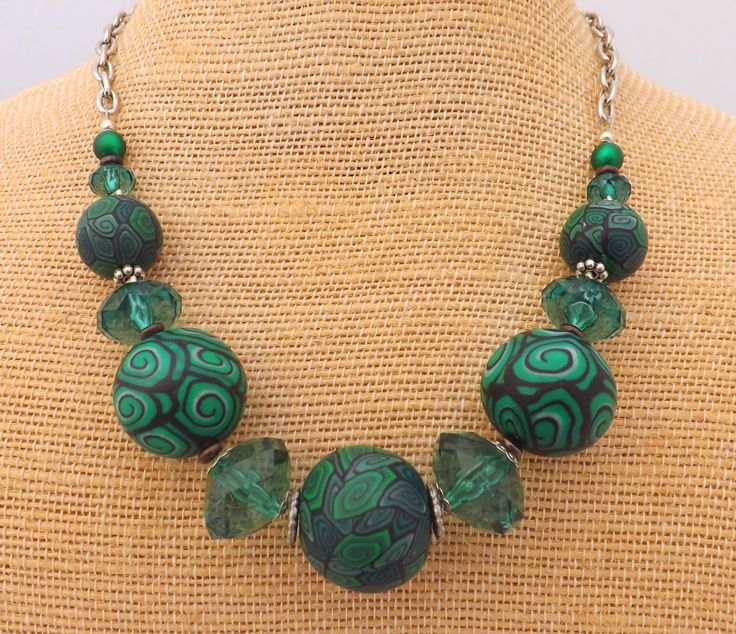 Dark Green Kathryn Design NZ Chunky Bead and Chain Necklace Features my original handmade polymer clay beads Retails for $40 NZD