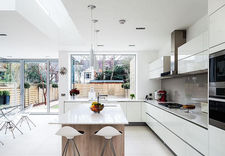 White modern kitchen, no handle units, central island with stools, hint of wood drain, super simple pendant lighting
