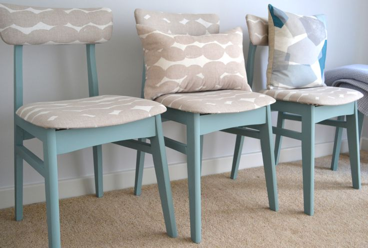 Mid century retro dining chairs reupholstery. Pebbles fabric (John Lewis) Oval room blue (Farrow  Ball)