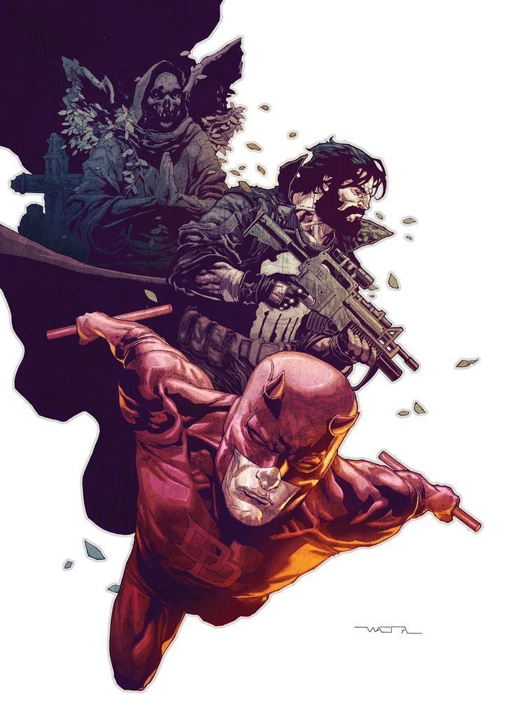 #Marvel:Daredevil  Daredevil(Matt Murdock) <3,The Punisher(at the moment I can't remember his name) & I don't know who that is..