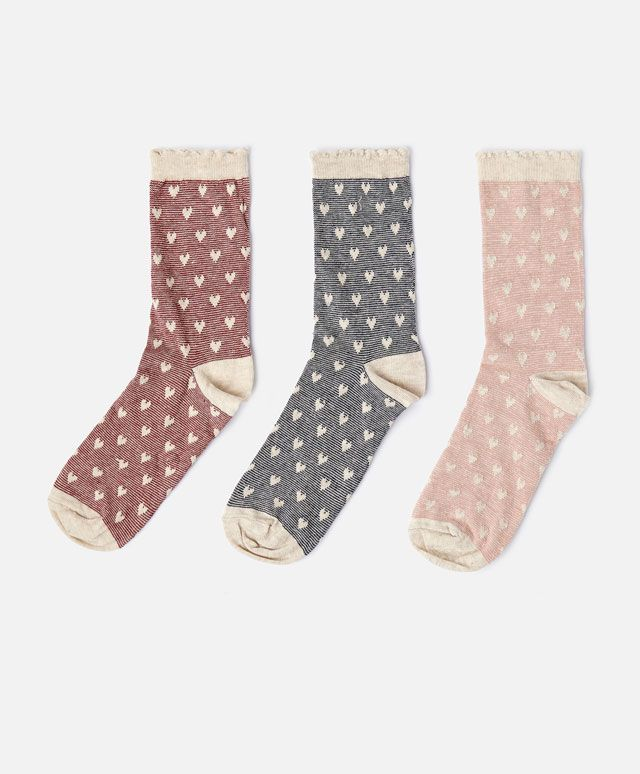 Pack of striped heart socks - OYSHO