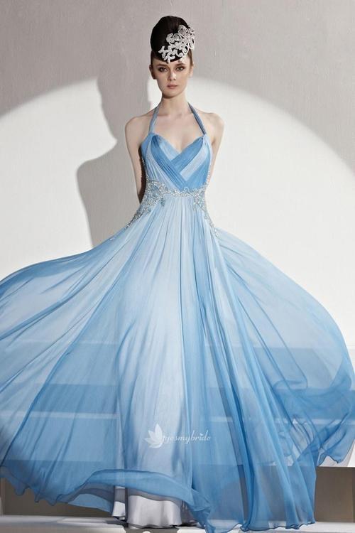 Fairy Sky Blue Halter Beaded Low Back Pleated A-line Floor Length Chiffon Evening Formal Dress...................MINE!