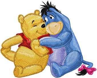 Eeyore and Winnie Pooh friends machine embroidery design