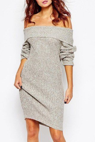 Sexy Low-Cut Off-The-Shoulder Solid Color Long Sleeve Sweater Dress For WomenSweater Dresses | RoseGal.com