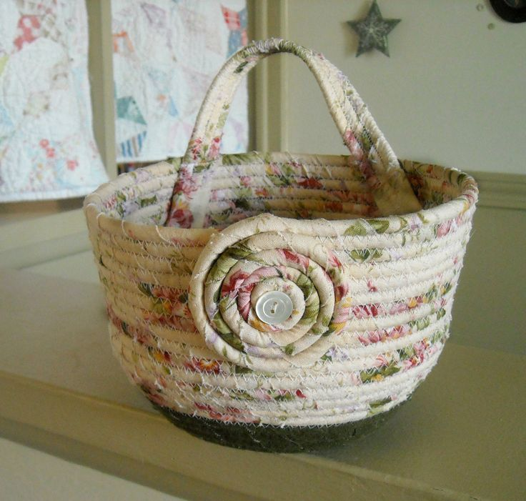 Hanging Fabric Coiled Rope Basket Great for holding the Dog's Leash, a Birthday Basket, Vintage Button by StitchedByMary on Etsy
