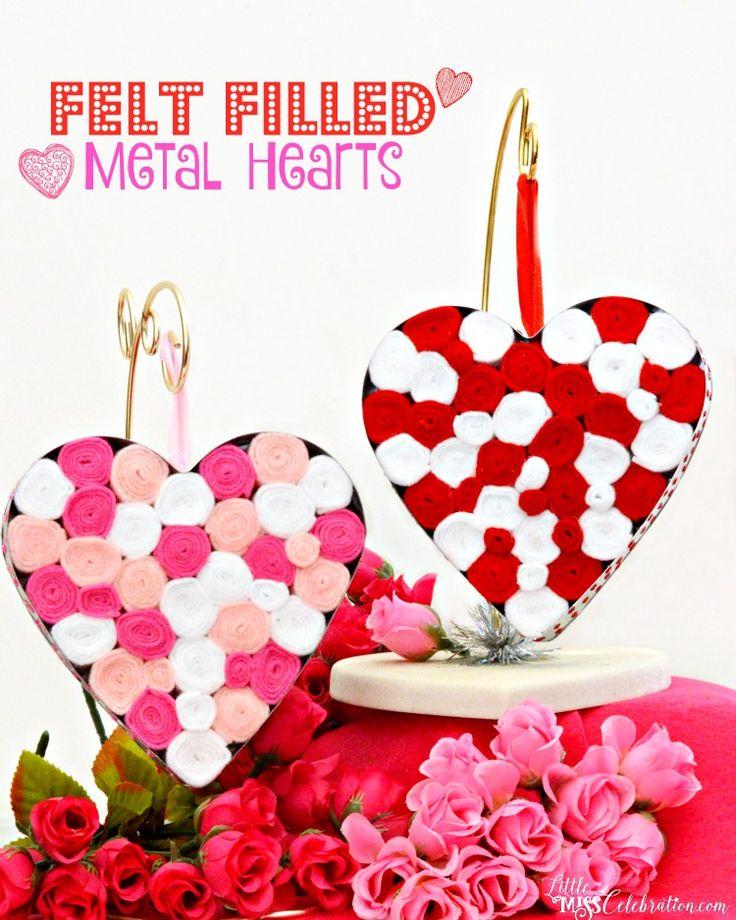 Create pretty, Felt Filled Metal Hearts with rolls of felt & sparkle on the side! At littlemisscelebration.com