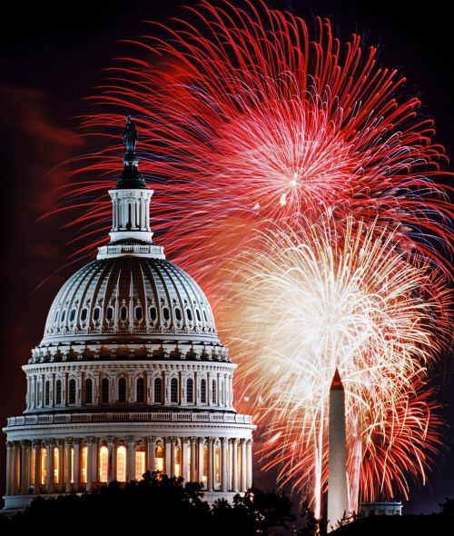 4th of July fireworks over U S Capitol in Washington, DC