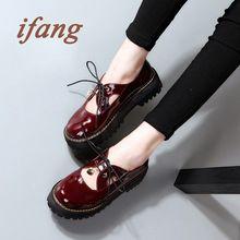La primavera de 2016 de nueva inglaterra mujeres zapato de charol negro de moda del cordón gruesos zapatos de fondo plano plataforma mujeres pisos(China (Mainland))