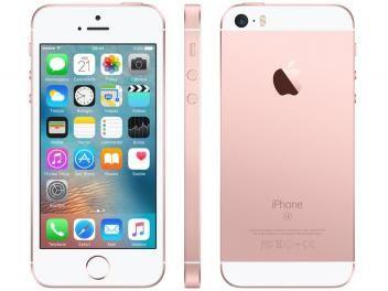"""iPhone SE Apple 16GB Ouro Rosa 4G Tela 4"""" Retina - Câm. 12MP iOS 10 Proc. Chip A9 Touch IDR$ 1.799,90 em até 10x de R$ 179,99 sem juros no cartão de crédito"""