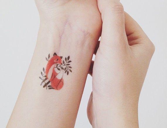 beautiful wrist red fox leaf watercolor tattoo for beautiful you