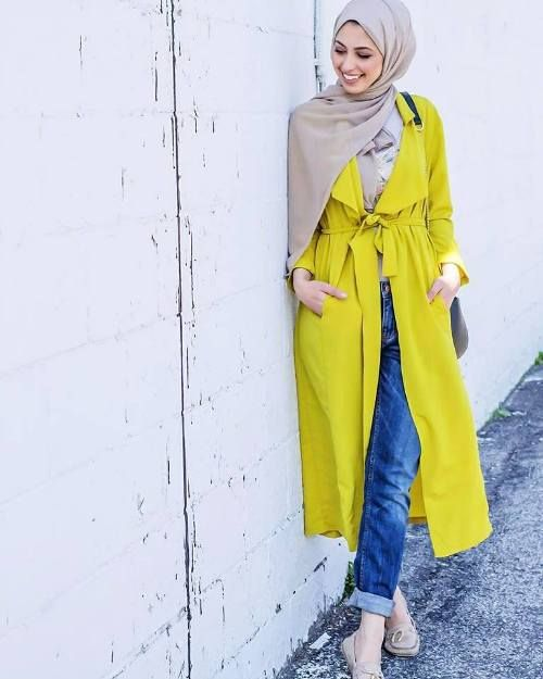 Yellow belted cardigan hijab-Street fashion style – Just Trendy Girls