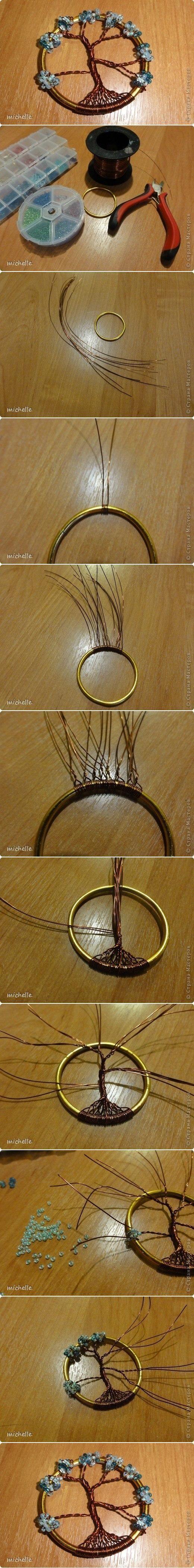 Colgante alambre y cuentas (arbol)