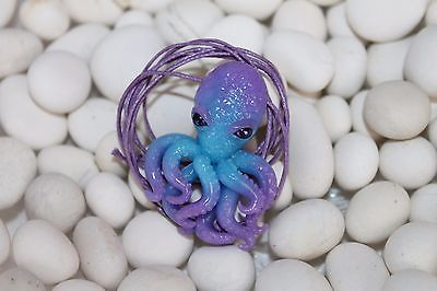 Purple blue octopus / pendant necklace jewelry / handmade polymer clay