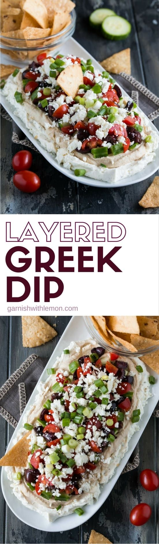 Healthy doesn't have to mean boring! Check our our healthier take on a traditional 7-layer dip with this veggie-filled Layered Greek Dip!