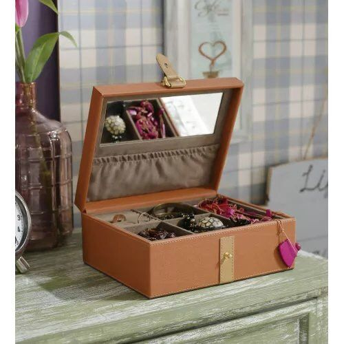 Organize your jewelry in a queenly style by this jewelry box that comes with a mirror and compartments to store in a sorted way.   Price - ₹2195 onwards  #homedecor #interiordesigning      #kraftsmen  #prettyhomes #giftsforher #jewelrybox #organizer  #essentials