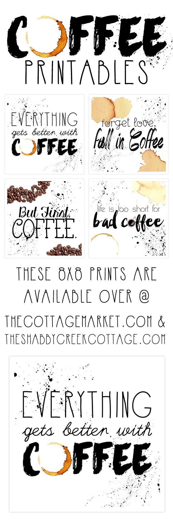 Get this set of coffee inspired free printable art - perfect for a breakfast area or kitchen! Free for personal use only.