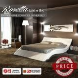 Rosetta Queen Size Leather Bed -  White