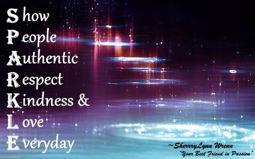 The true meaning of SPARKLE    Show People Authentic Respect Kindness & Love Everyday    Love Your Life