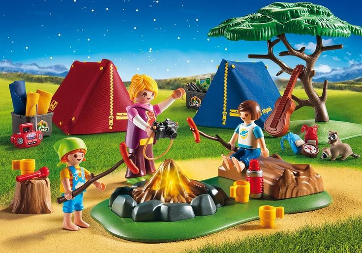 Pitch your tent and gather around the campfire at the Playmobil Camp Site with Fire. Roast hot dogs around the illuminating fire (2 x AAA batteries required), sing songs in tune to the guitar, and spend a night under the stars. Be careful the raccoons don't rummage through your backpack! Set includes three figures, three sleeping bags, table, and other accessories. Recommended for ages four years and up. $49.99