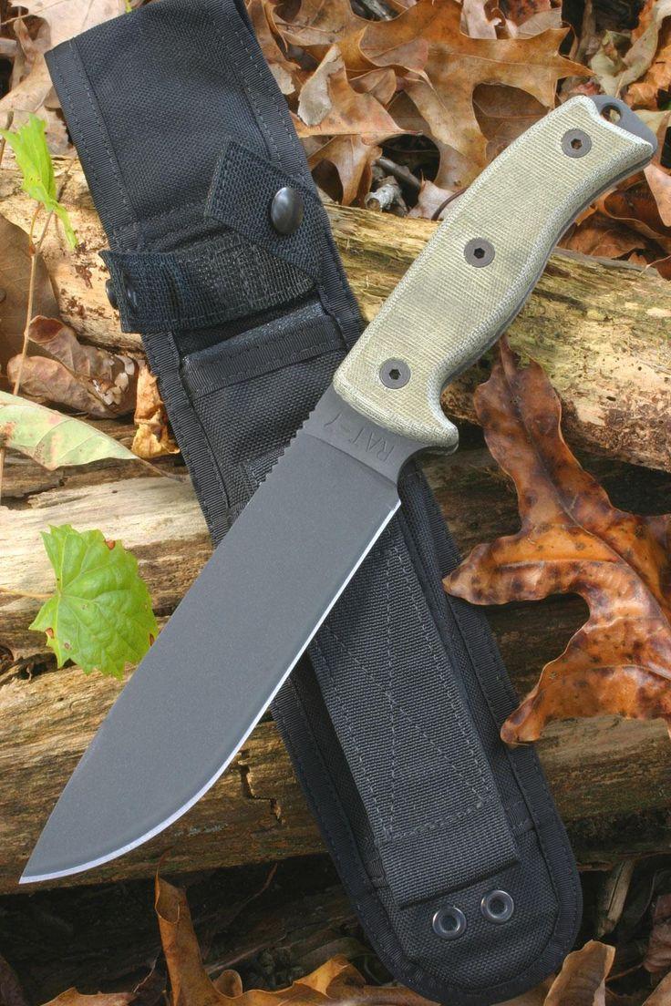 "Ontario RAT-7 Survival Knife 7"" Plain Blade, Micarta Handles, MOLLE Sheath (8604) - KnifeCenter"