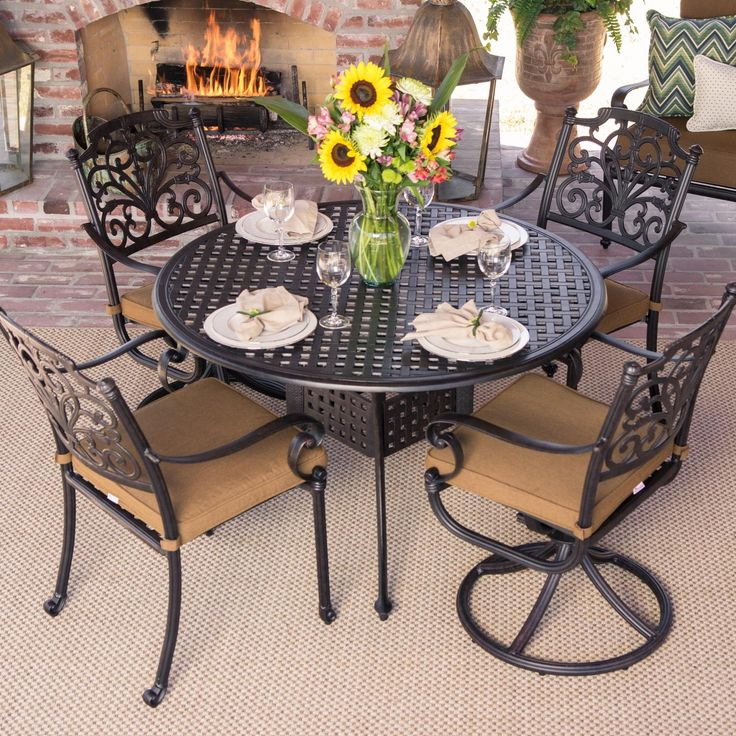 loopita bonita outdoor furniture. Evangeline 5 Piece Cast Aluminum Patio Dining Set With 2 Swivel Rockers And Round Table By Lakeview Outdoor Designs - Canvas Teak Loopita Bonita Furniture C