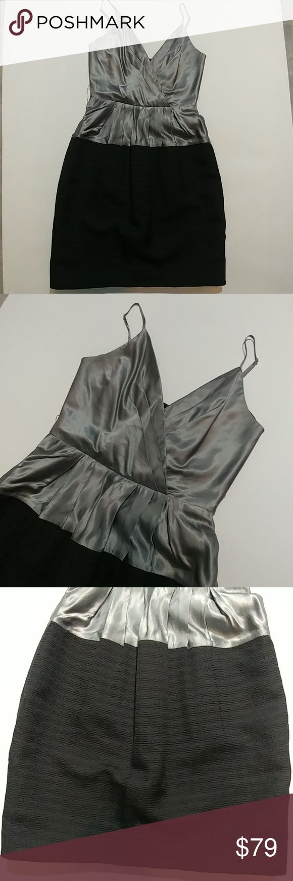 """NWOT BCBGMAXAZRIA occasion dress sz 6 Brand new, no tags, never worn from a smoke and pet free home No damage flaws or defects  Metallic gunmetal color faux wrap top with adjustable straps and fabric skirted portion, lined, gathers at waist for a beautiful silhouette Approx Measurements  Waist 13.5"""" Bust 15"""" Length 32.5"""" BCBGMaxAzria Dresses Mini"""