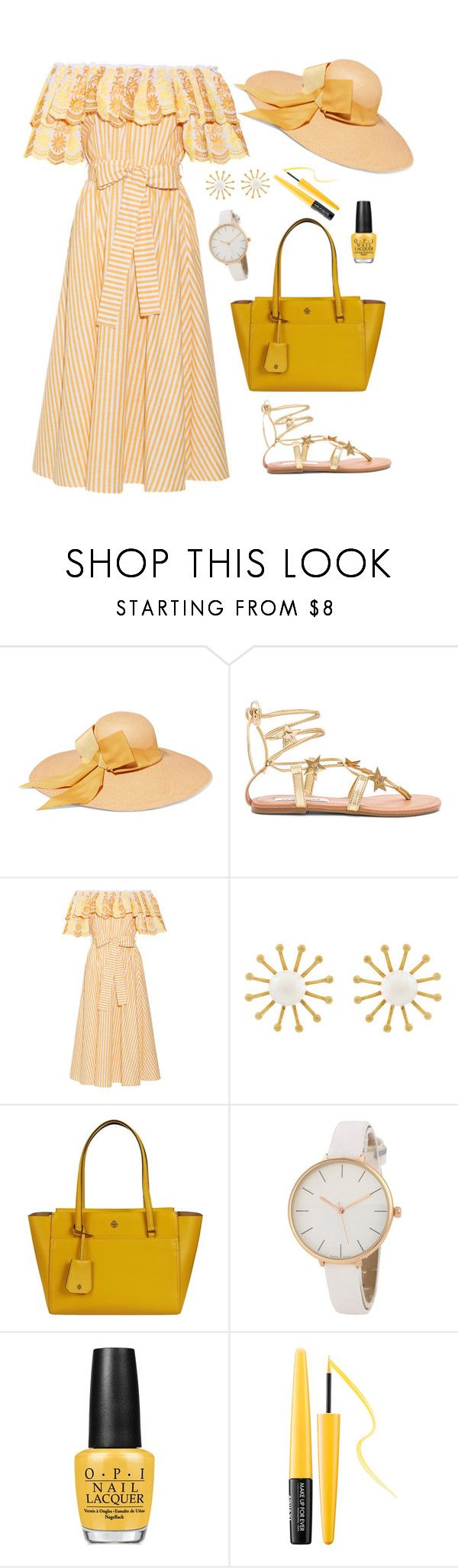 """Untitled #2040"" by ebramos ❤ liked on Polyvore featuring Sensi Studio, Steve Madden, Gül Hürgel, Meg Carter Designs, Tory Burch, OPI and MAKE UP FOR EVER"