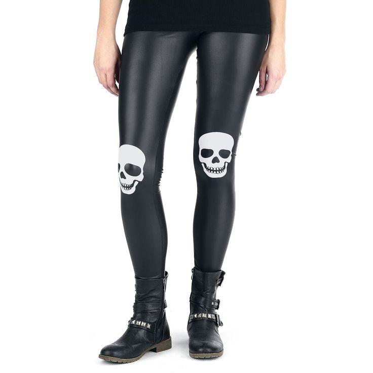 """#Leggings neri in similpelle """"Skull Knee Leatherlook Leggings"""" della collezione Full Volume by EMP con teschio grigio stampato sulle ginocchia."""