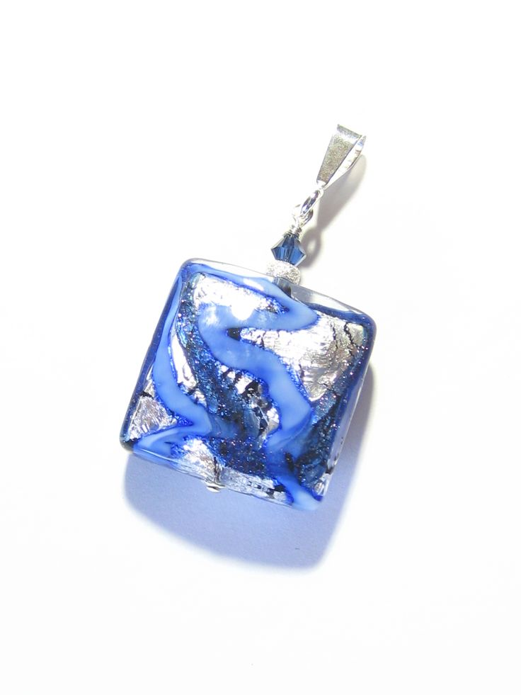 Murano Glass Blue Silver Square Pendant Necklace, Italian Glass Jewelry