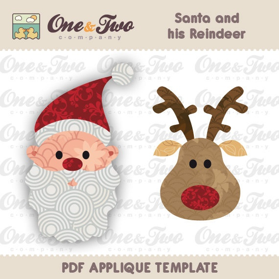 Fabric  APPLIQUE TEMPLATE Only PDF - Santa and his Reindeer