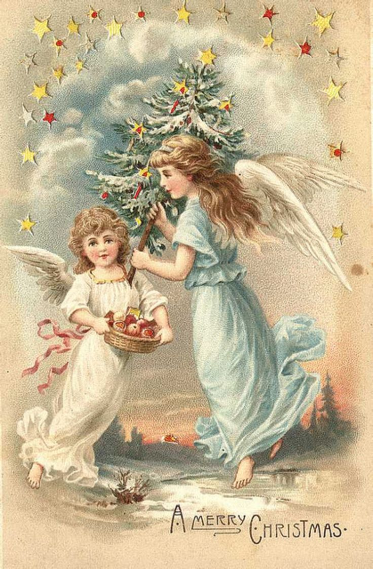 Открытки с ангелами с рождеством