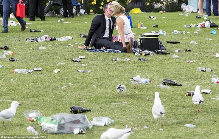 A sneaky pash at the end of Melbourne Cup day celebrations amid the piles of rubbish left ...