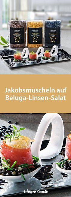 Jakobsmuscheln auf Beluga-Linsen-Salat