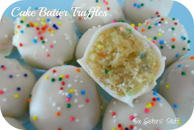 No Bake Cake Batter Truffles . . . easy to make and taste amazing!Cake Batter Truffles, No Baking Cake, Truffles Easy, Taste Amazing, Cake Pop, Savory Recipe, Easy Cake, Six Sisters Stuff, Cakebatter