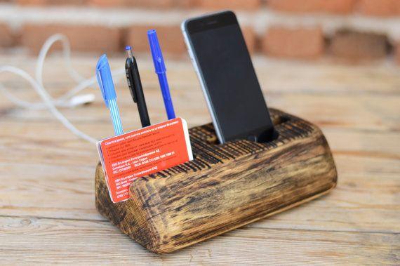 Desk organizer Office organizer Wooden phone stand by WoodRestart