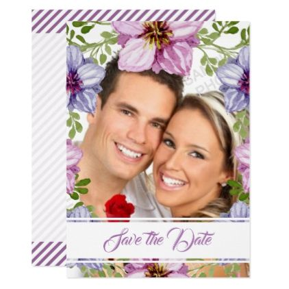 Purple Pink Floral Wreath Save The Date Photo Card - wedding invitations diy cyo special idea personalize card