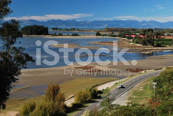 Road and Seascape, Riwaka Estuary, NZ royalty-free stock photo
