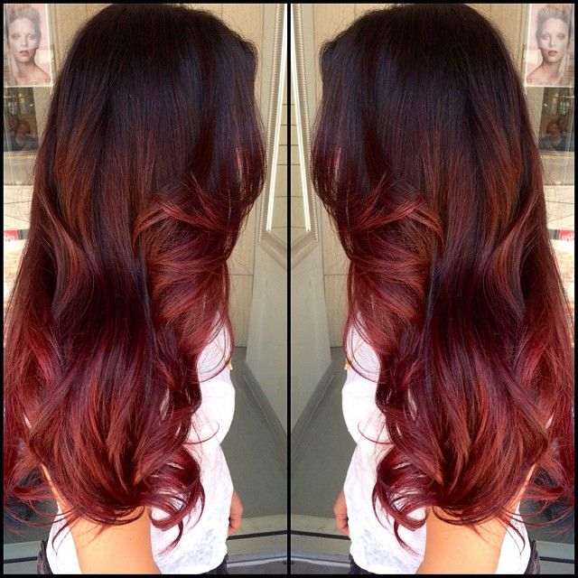 Red and brown ombre