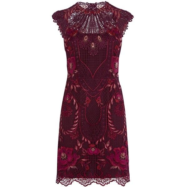 Karen Millen Pieced & Panelled Lace Dress ($365) ❤ liked on Polyvore featuring dresses, purple cocktail dresses, short dresses, short lace dress, print maxi dress and short-sleeve dresses