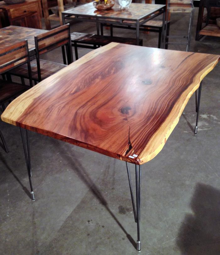 Custom Monkeypod Wood Slab Natural Edge Dining Table With