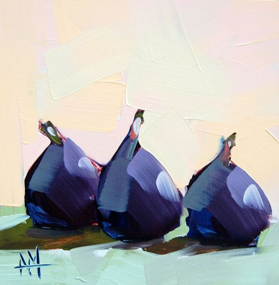 Three Figs no. 6 original still life oil painting by Angela Moulton