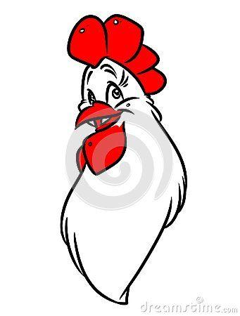 Emblem rooster head cartoon illustration   image character bird