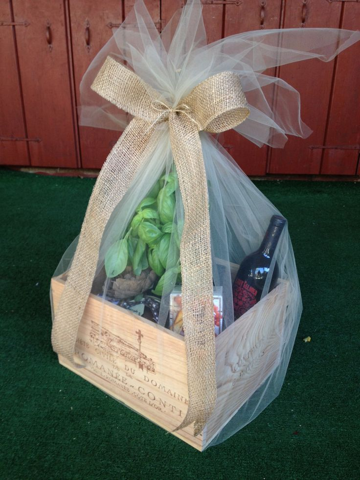 Wine Box wedding gift add a fresh herb plant cheese wine crackers spreads or anything you